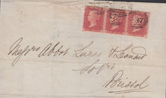 84021 - 1861 DIE 2 PL.64 (GA GB GC)(SG40) USED ON COVER. 1861 wrapper...