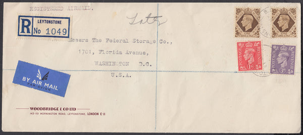 84058 - 1950 MAIL LEYTONSTONE TO USA. Large envelope (224x99mm) with KGVI 1d, 3d and 1s x3 ...