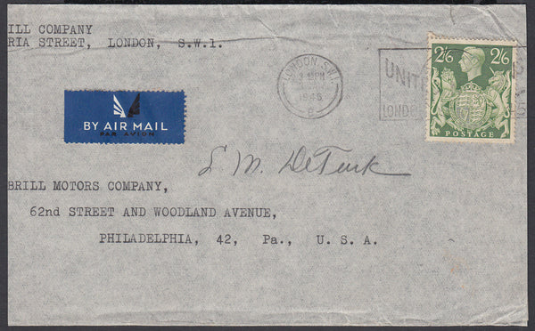 84154 - 1946 MAIL LONDON TO USA 2/6D YELLOW-GREEN (SG476b). Envelope (slightly trimmed at left) London to...
