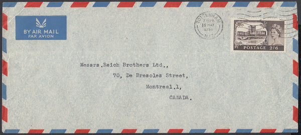 84166 - 1958 MAIL TOTTENHAM TO CANADA 2/6D CASTLE ISSUE.  Large envelope (228x102mm) London to Canada with fi...