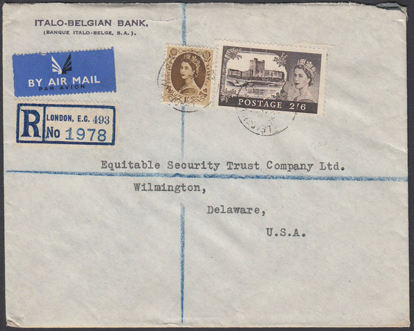 84169 - 1958 envelope sent registered air mail London to D...