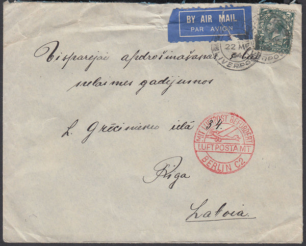 84181 - 1934 MAIL LIVERPOOL TO LATVIA. Envelope Liverpool to Riga, L...