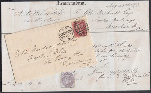 84258 - 1873 1D RED(SG43)PL.103 AND 1D REVENUE USAGE. Envelope Liverpool...