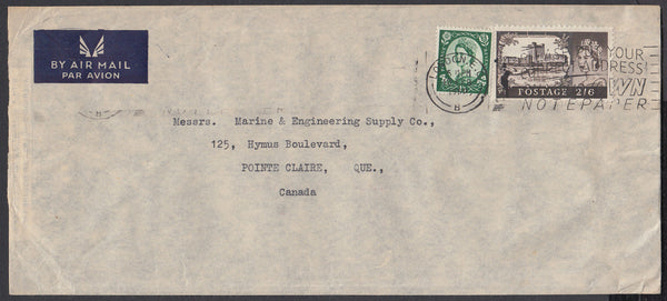 84273 - 1960 MAIL LONDON TO CANADA 2/6D CASTLE. Large envelope (228x102mm) London to Quebec Canada ...