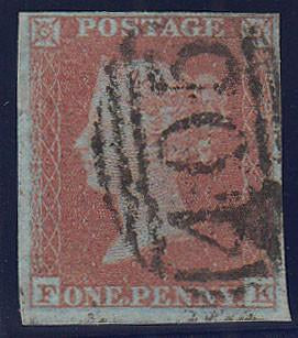 84321 - PL.134 (FK)(RED-BROWN ON VERY BLUED PAPER SG8a). Good used 1852 1d pl.134