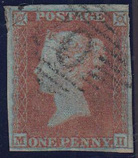 84325 - PL.134 (MH)(RED-BROWN ON VERY BLUED PAPER SG8a). Fine used 1852 1d pl.134 (SG8) lettered MH