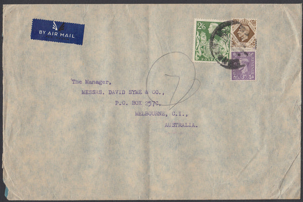 84423 - KGVI MAIL LONDON TO AUSTRALIA/2/6D YELLOW-GREEN (SG476b). Large envelope (230x150mm) London to Melbourne, Aus...