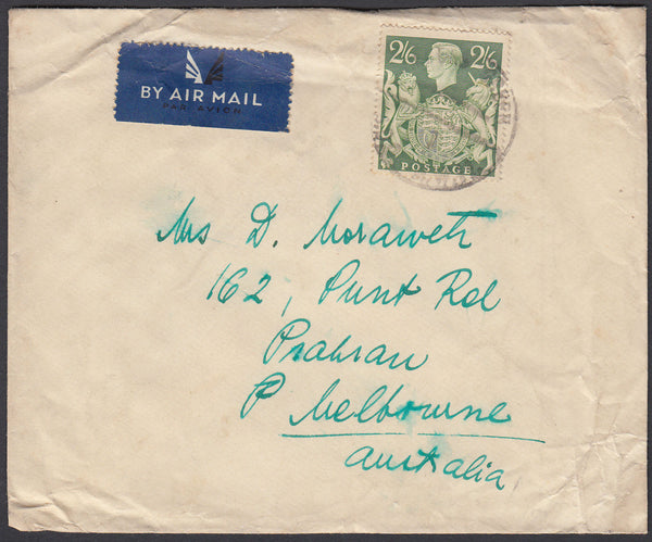84450 - KGVI MAIL LONDON TO AUSTRALIA 2/6D YELLOW-GREEN (SG476b). Undated envelope (slight creasing) London to Melbourn...