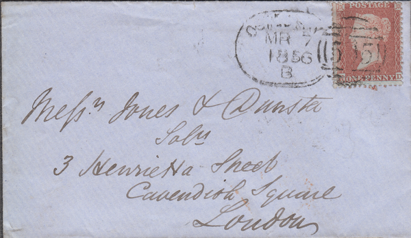 84453 - OSWESTRY SPOON (RA110) ON COVER. 1856 envelope Oswestry to ...