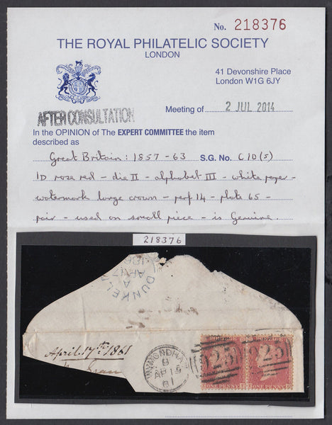 84514 - PL.65 - PAIR LETTERED EF EG ON DATED PIECE (SG40)....