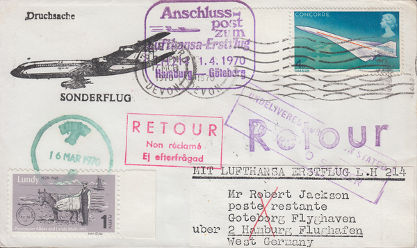 84523 - 1970 envelope Bideford Devon to Hamburg with 4d Co...