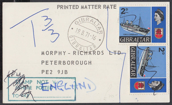 84529 - 1971 PRINTED MATTER RATE/UNDERPAID MAIL GIBRALTAR TO PETERBOROUGH. Post card ...