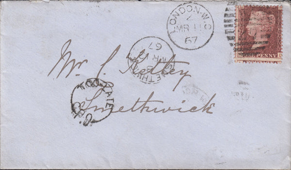 84546 - 1867 envelope London to Smethwick with 1d pl.91 le...