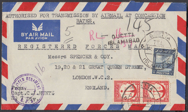 84588 - 1950 MAIL PAKISTAN TO LONDON. Airmail envelope sent registered forces mail ...