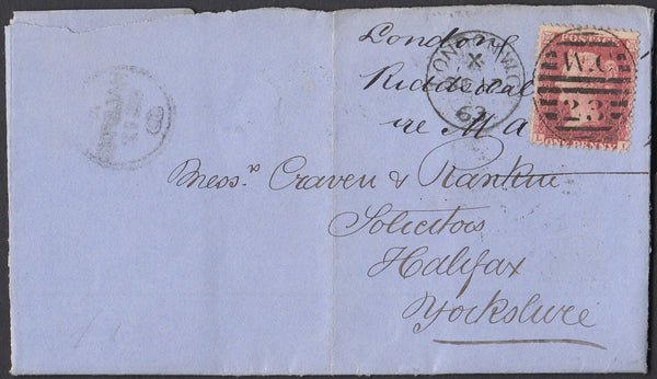 84599 - 1863 DIE 2 RESERVE PL.16 (LL)(SG40b) ON COVER LONDON TO HALIFAX.  1863 letter Grays Inn ...