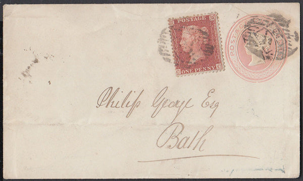 84607 - 1857 1D PINK ENVELOPE UPRATED 1D RED-BROWN ON BLUED PAER (SG29). A fine 1d pink envelope London to Bath uprated with ...