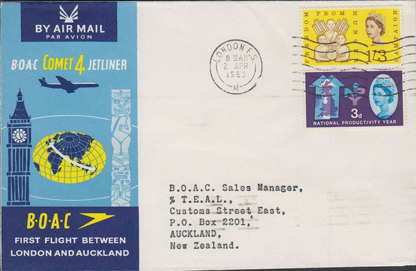 84632 1963 BOAC FIRST FLIGHT LONDON AND AUCKLAND.
