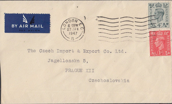 84650 1947 MAIL TO CZECHOSLOVAKIA.