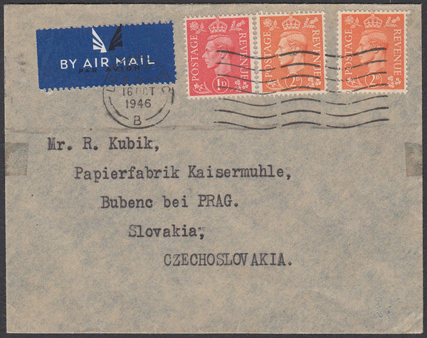 84702 1946 MAIL TO CZECHOSLOVAKIA.