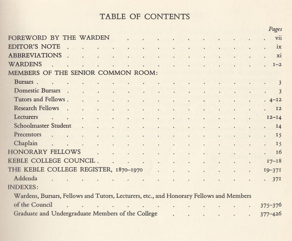 84810 - KEBLE COLLEGE: CENTENARY REGISTER 1870-1970 compil...