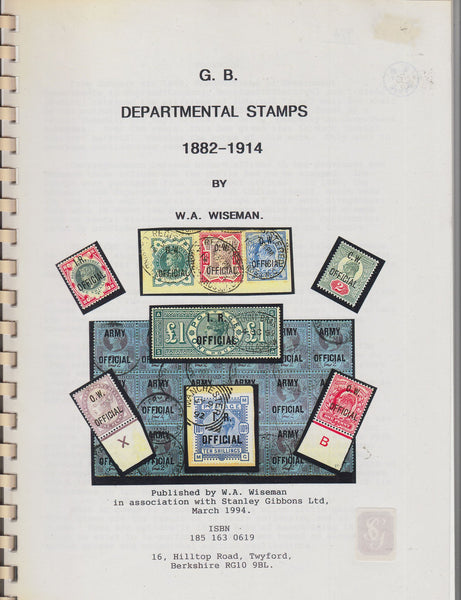 84839 - GB DEPARTMENTAL STAMPS 1882-1914 by Wiseman. A fin...