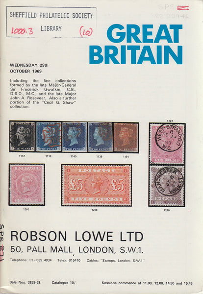 84909 GREAT BRITAIN: Robson Lowe auction catalogue October 1969.