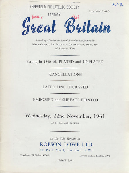 84949 GREAT BRITAIN: Robson Lowe auction catalogue November 1961.