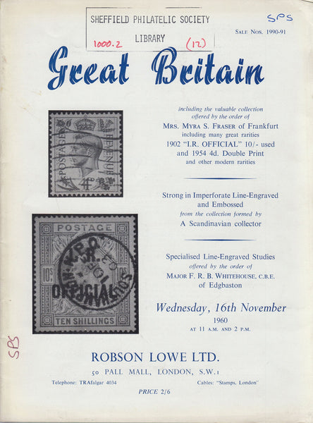 84960 - GREAT BRITAIN Robson Lowe Auction Catalogue Novemb...