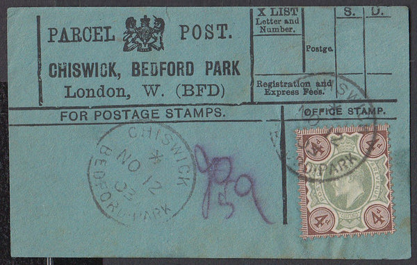 85193 - PARCEL POST LABEL. 1903 blue label Chiswick Bedfor...