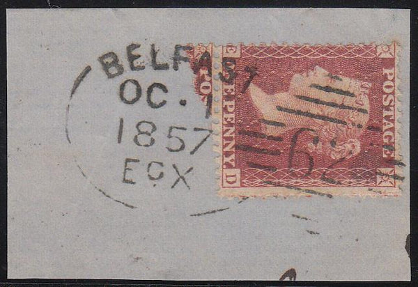 85214 - BELFAST IRISH SPOON TYPE a (RA12). Piece with good to fine Die 2 1d rose-red on white paper (SG40) lettered RD, centred to left,