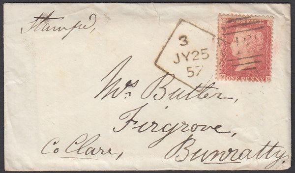 85294 - DUBLIN DIAMOND SPOON CODE 3 (RA65) ON COVER. 1857 envelope