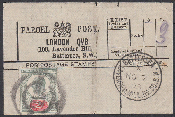 85322 - PARCEL POST LABEL. 1903 label LONDON QVB (100 Lave...