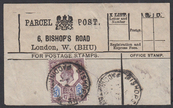 85331 - PARCEL POST LABEL. 1903 label 6 BISHOP'S ROAD Lond...