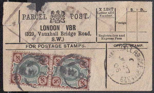 85333 - PARCEL POST LABEL. 1905 label LONDON VBR (329 Vaux...