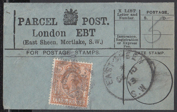 85352 - PARCEL POST LABEL. 1913 label LONDON EBT (East She...