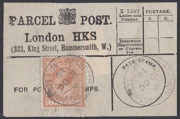 85357 - PARCEL POST LABEL. 1914 label LONDON HKS (323 King...