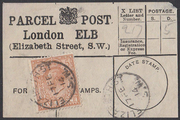 85358 - PARCEL POST LABEL. 1914 label LONDON ELB (Elizabet...