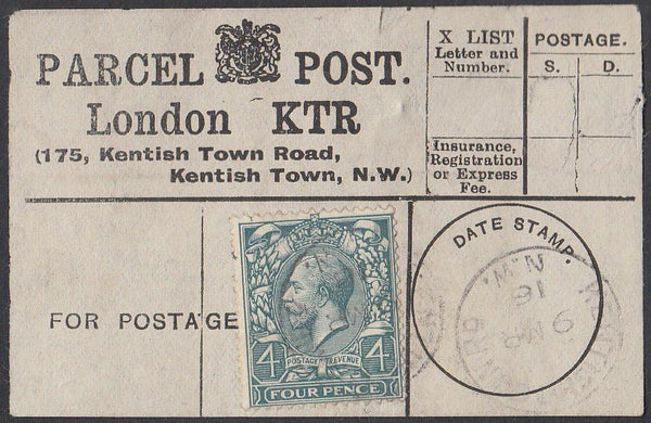 85359 - PARCEL POST LABEL. 1916 label LONDON KTR (175 Kent...