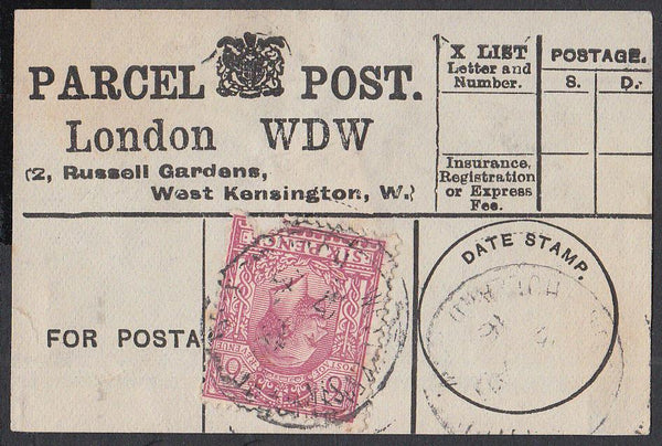 85360 - PARCEL POST LABEL. 1916 label LONDON WDW (2 Russel...