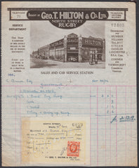 85375 - 1936 2D PHOTOGRAVURE (SG442) ON DOCUMENT AS REVENUE. Fine attractive illustrated Invoice from Rugby ...