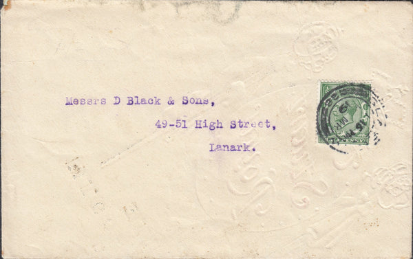 85376 - 1919 ENVELOPE GLASGOW TO LANARK MADE FROM WRAPPING PAPER. Envelope G...