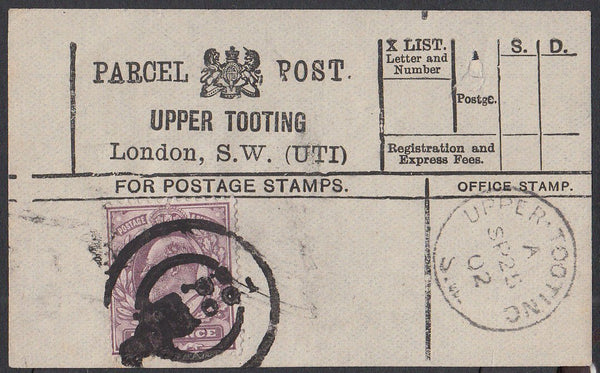 85417 - PARCEL POST LABEL. 1902 label UPPER TOOTING lONDON...