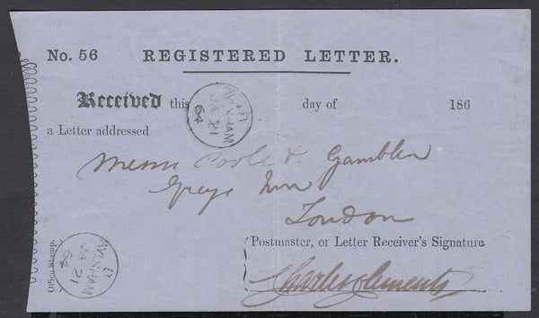 85440 - NORFOLK. 1864 registered letter receipt concerning...