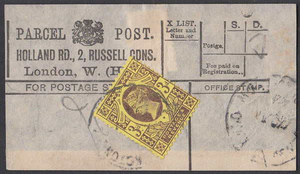 85453 - PARCEL POST LABEL. Example from Holland Rd, 2 Russ...