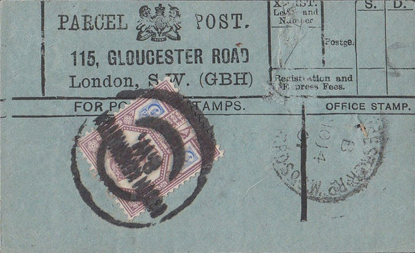 85461 1901 PARCEL POST LABEL.