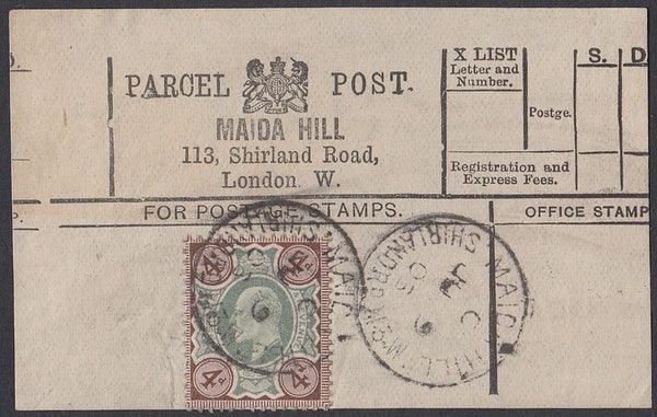 85542 - PARCEL POST LABEL. 1903 label MAIDA HILL, 113 Shir...