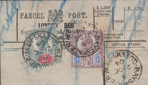 85547 1904 PARCEL POST LABEL.