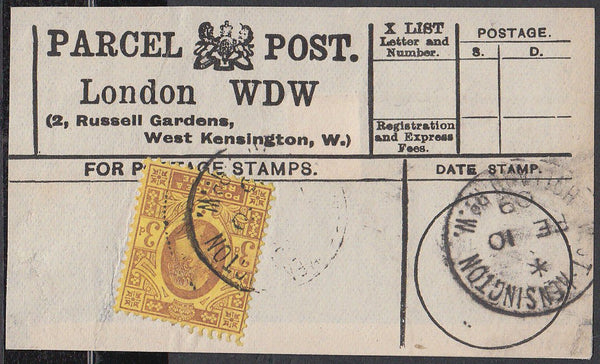 85548 - PARCEL POST LABEL. 1909 label LONDON WDE (2 Russel...