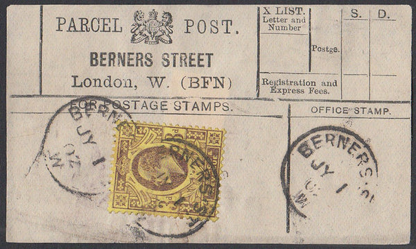 85550 - PARCEL POST LABEL. 1902 label BERNERS STREET, Lond...