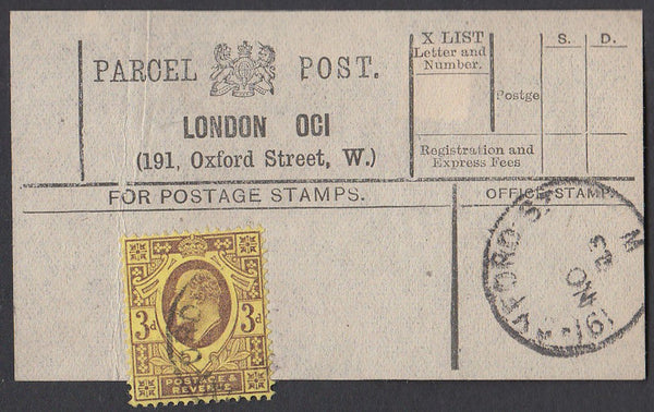 85552 - PARCEL POST LABEL. 1903 label LONDON OCI (191 Oxfo...